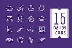 Установленные значки вектора электронной коммерции моды Шоппинг Бесплатная Иллюстрация