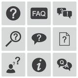 Установленные значки вопросы и ответы вектора черные Стоковые Изображения RF