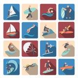 Установленные значки водных видов спорта покрашенными Стоковое фото RF