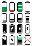 Установленные значки времени работы от батарей Стоковое Изображение