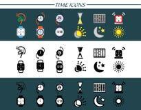 Установленные значки времени Стоковое Изображение
