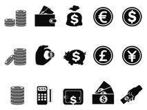 Установленные значки денег и монетки Стоковое Фото