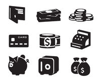 Установленные значки денег Стоковые Изображения RF