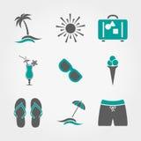 Установленные значки летних каникулов иллюстрация штока