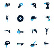 Установленные значки електричюеских инструментов Стоковое фото RF