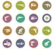Установленные значки електричюеских инструментов Стоковые Фотографии RF