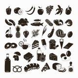 Установленные значки еды вектора черные Стоковое фото RF