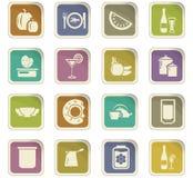 Установленные значки еды и кухни Стоковое Фото