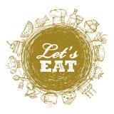 Установленные значки еды Стоковое Фото