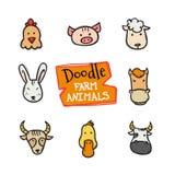 Установленные значки животноводческих ферм стиля doodle вектора Милой собрание нарисованное рукой животных голов Стоковая Фотография RF