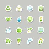 Установленные значки зеленого цвета Eco Стоковое Изображение RF