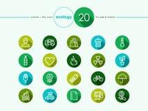 Установленные значки зеленой окружающей среды плоские Стоковые Изображения RF