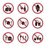 Установленные значки знака запрета еды и питья Стоковые Фото