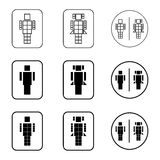 Установленные значки знака робота туалета Стоковая Фотография