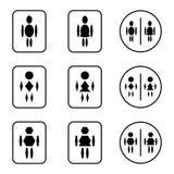 Установленные значки знака туалета формы шестиугольника диаманта эллипсиса Стоковые Фотографии RF