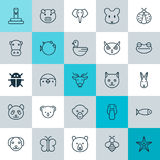 Установленные значки зоологии Собрание зайчика, утки, крысы и других элементов Также включает символы как сумеречница, медведь, P Стоковая Фотография