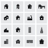 Установленные значки зданий вектора черные бесплатная иллюстрация