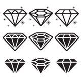 Установленные значки диаманта Стоковое Изображение RF