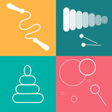 Установленные значки игрушек Белая линия искусство на красочной предпосылке стоковое изображение rf