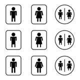 Установленные значки дизайна знака туалета Стоковые Изображения