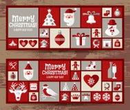 Установленные значки дизайна рождества Новый Год карточки счастливое Стоковое фото RF