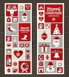 Установленные значки дизайна рождества Новый Год карточки счастливое Стоковые Изображения