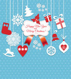 Установленные значки дизайна рождества Новый Год карточки счастливое Стоковое Изображение