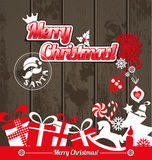 Установленные значки дизайна рождества Новый Год карточки счастливое Стоковые Фотографии RF