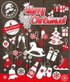 Установленные значки дизайна рождества Новый Год карточки счастливое Стоковое Изображение RF