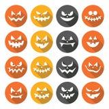 Установленные значки дизайна страшных сторон тыквы хеллоуина плоские Стоковое фото RF