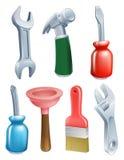 Установленные значки инструментов шаржа Стоковые Изображения