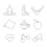 Установленные значки йоги Стоковая Фотография RF
