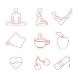 Установленные значки йоги Стоковые Изображения
