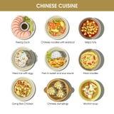 Установленные значки китайского вектора блюд меню кухни традиционного плоские иллюстрация вектора
