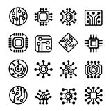 Установленные значки компьютерных микросхем и радиотехнической схемы Стоковые Фото