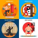 Установленные значки концепции боевых искусств Стоковые Изображения