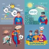 Установленные значки концепции супергероя иллюстрация штока
