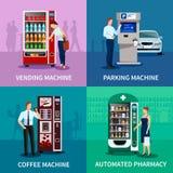 Установленные значки концепции торговых автоматов иллюстрация вектора