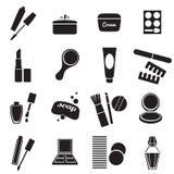 Установленные значки косметических продуктов простые Стоковое Фото