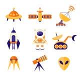 Установленные значки космоса Стоковые Изображения