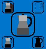 Установленные значки кофеварки гейзера Стоковые Фото