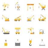 Установленные значки крана строительной конструкции плоские иллюстрация штока
