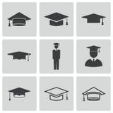 Установленные значки крышки вектора черные академичные бесплатная иллюстрация