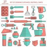 Установленные значки кухни выпечки Стоковое Изображение RF