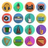 Установленные значки мелодии и музыки Стоковые Изображения RF