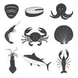 Установленные значки морепродуктов Стоковые Изображения