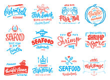 Установленные значки морепродуктов Стоковая Фотография