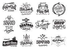 Установленные значки морепродуктов Стоковое Изображение