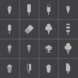 Установленные значки мороженого вектора черные Стоковые Изображения RF