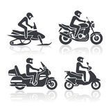 Установленные значки мотоцикла Стоковое Изображение RF